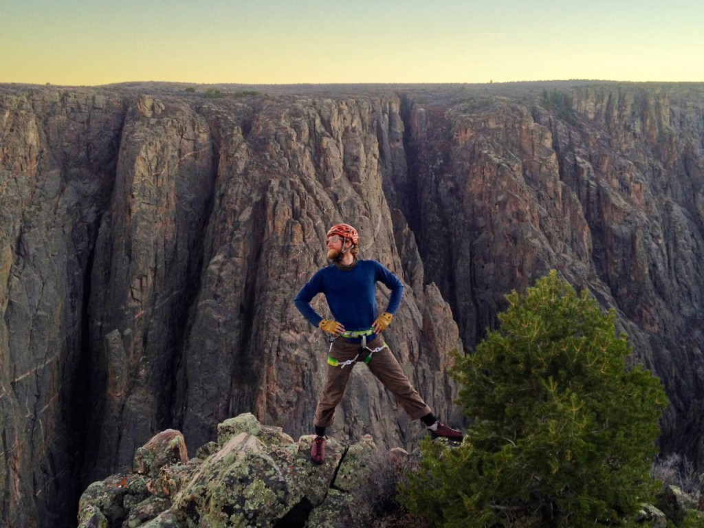 Photo: Ed E - On the summit of the Russian Arete, IV 5.9+, 8 pitches, 1500'. Black Canyon National Park, Colorado.