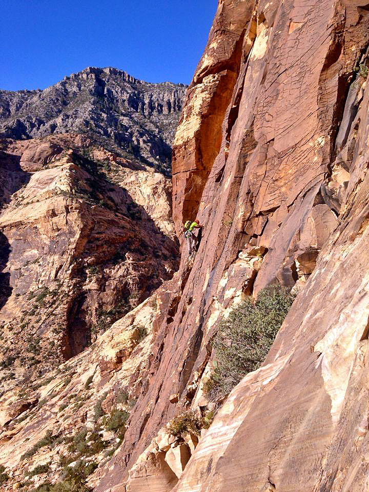 Photo: Lindsey H - Pitch 2 of Eagle Dance, IV 5.10d C0. Red Rock Canyon, Nevada.