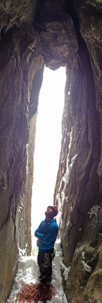 Nik looking up at the start of the third pitch that thwarted us for two attempts. There's no protection until the big chockstone.