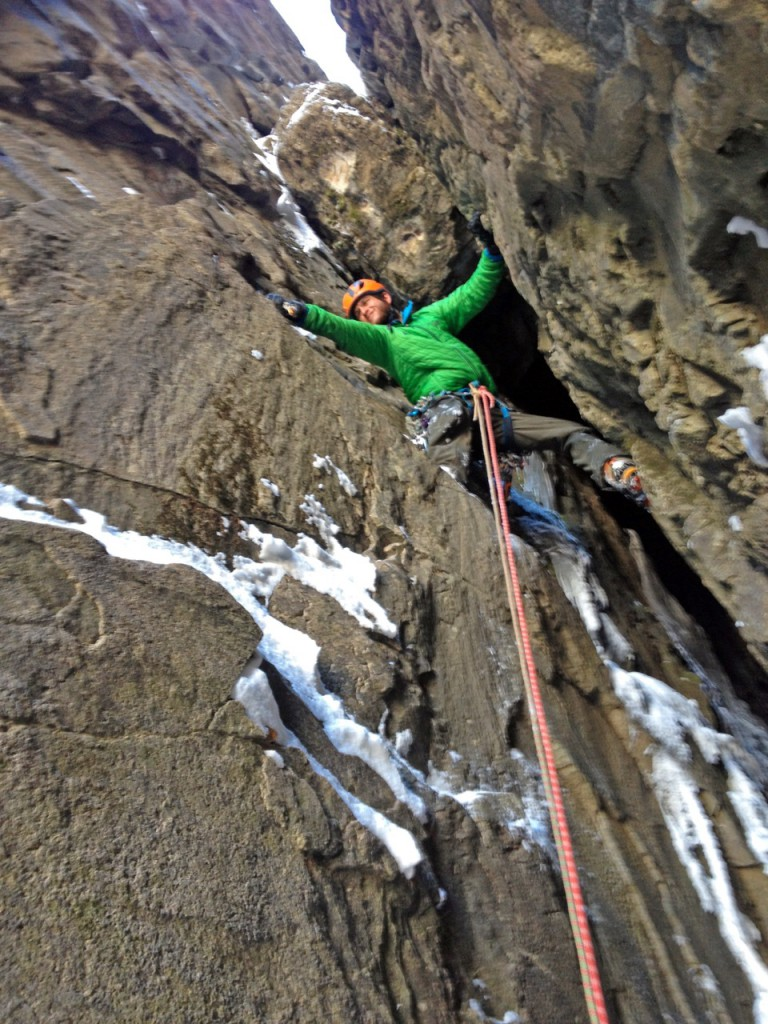 Nik climbing up to one of the many chockstone bulges we encountered on route.