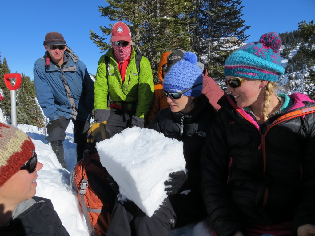 Students on an AIARE Level 1 avalanche course looking at snow crystals from a small column test.