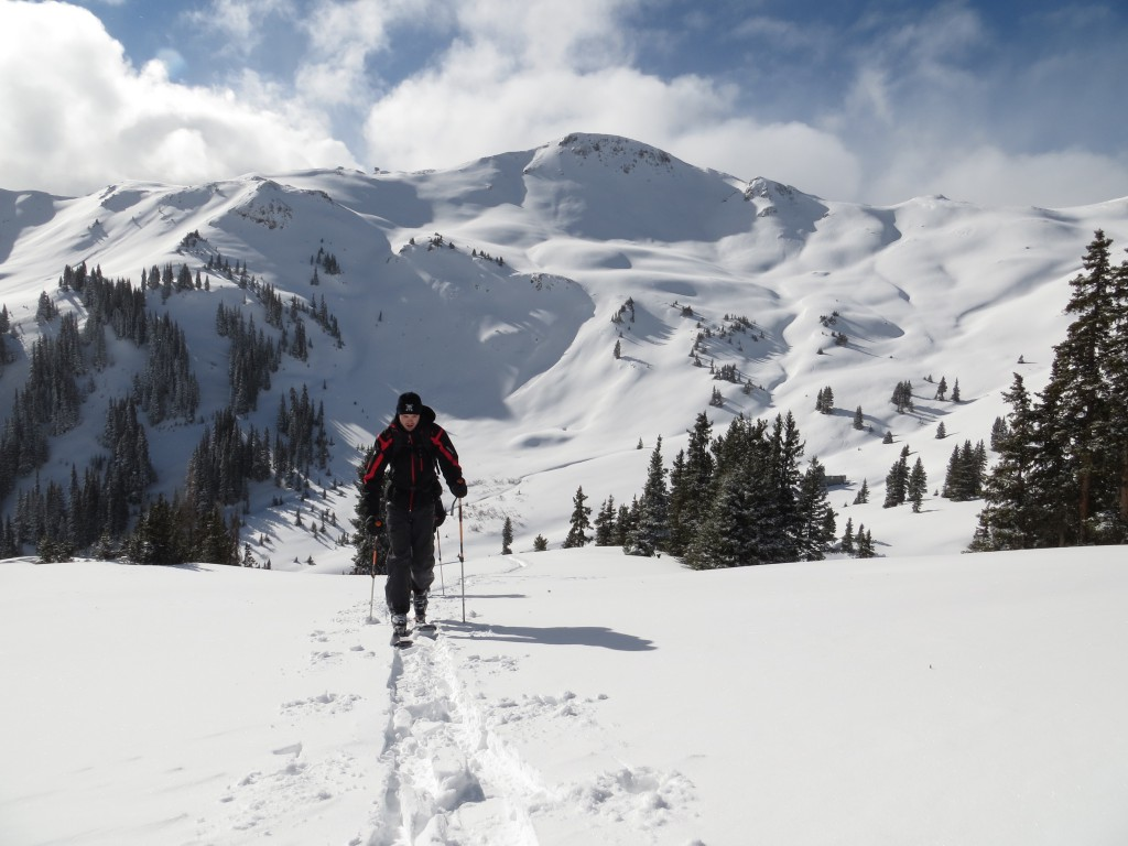 Raising the hear rate with one of KMG's AMGA Certified Guides on a powder tour near Red Mountain Pass and SIlverton, CO.   San Juan Mountains