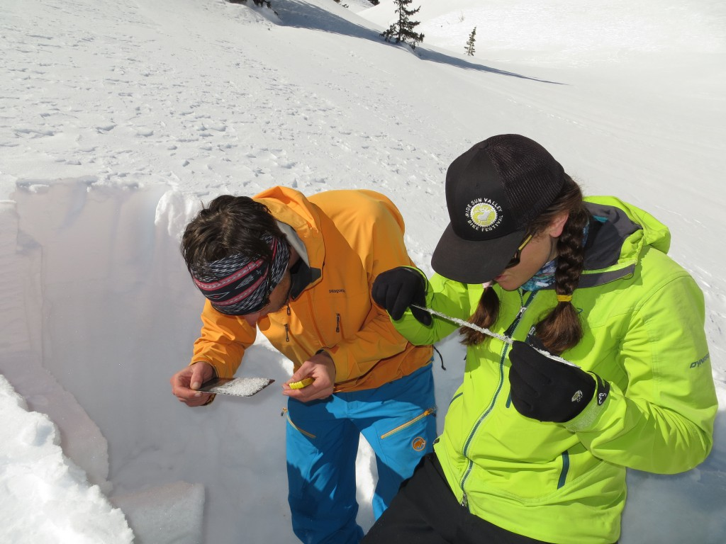 Students on an AIARE Level 2 avalanche course assign snow crystals on their BCA metal crystal card.  San Juan Mountains, CO.