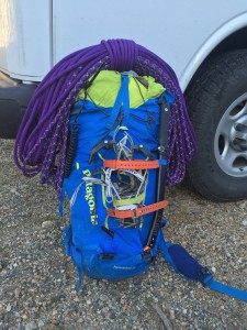 A low bulk, svelte guide pack set for a multi-day alpine adventure.