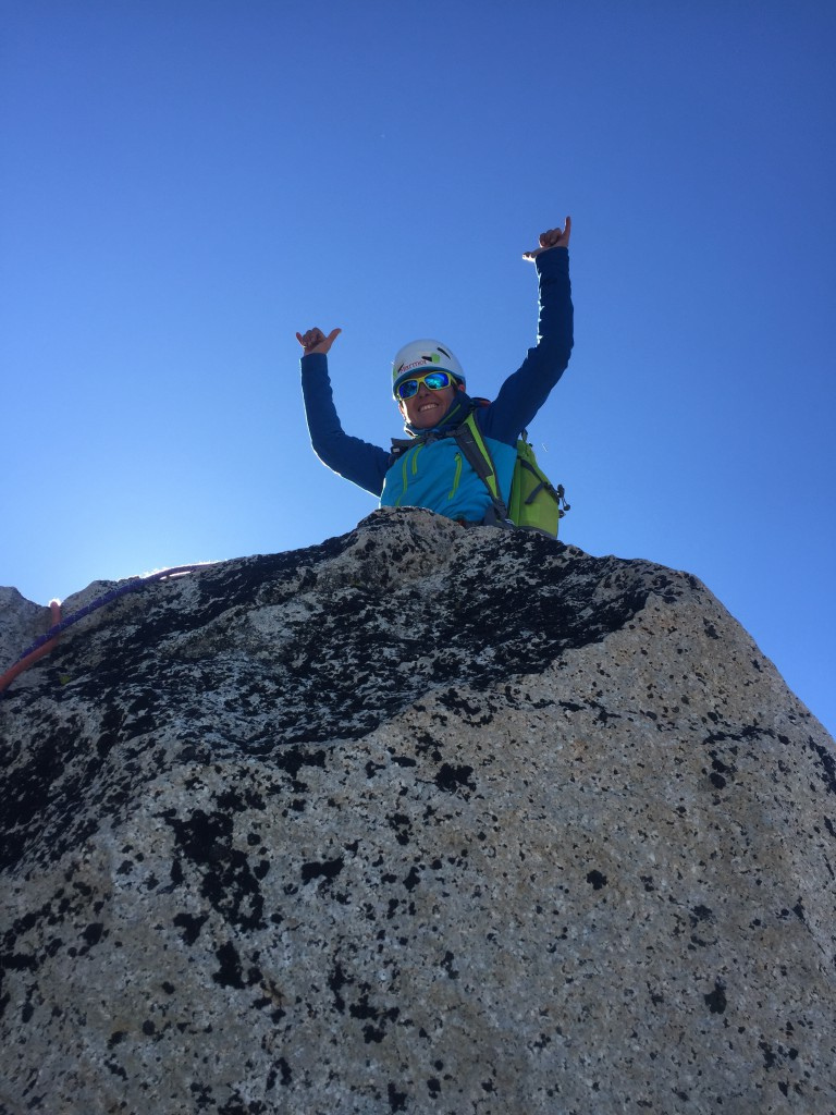 Summits matter.  Angela on the tip top of Burgundy Spire.