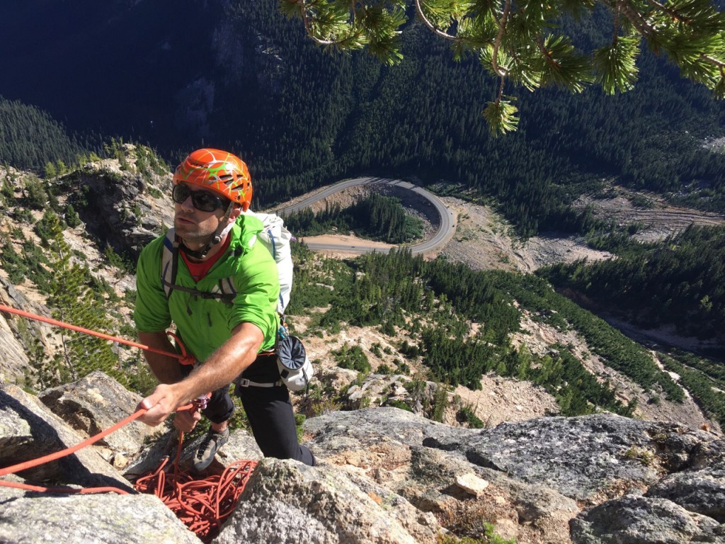 Giving Paul (my partner candidate) a belay while IFMGA Guide and examiner Erik  Leidecker takes some pictures.