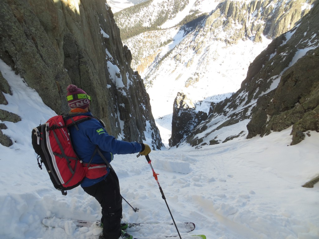 AMGA Certified Alpine Guide, Certified Rock Guide, Assistant Ski Guide Josh Kling getting ready to drop into the 1,800 ft line know as the Turkey Chute near Silverton, CO.