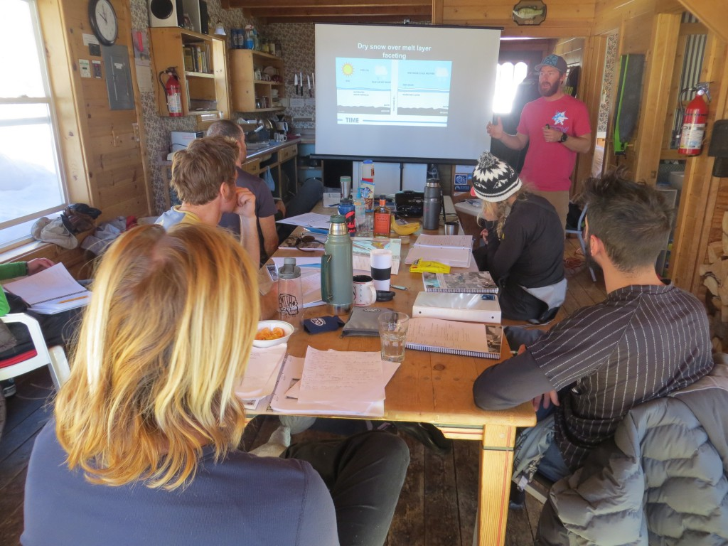 Students on an AIARE Level 2 at the Addie S Cabin on Red Mountain Pass learning about re-cyrstalization of snow.