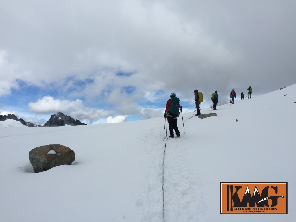 Participants approaching their objective during an American Mountain Guides Association  Alpine Guide Exam.
