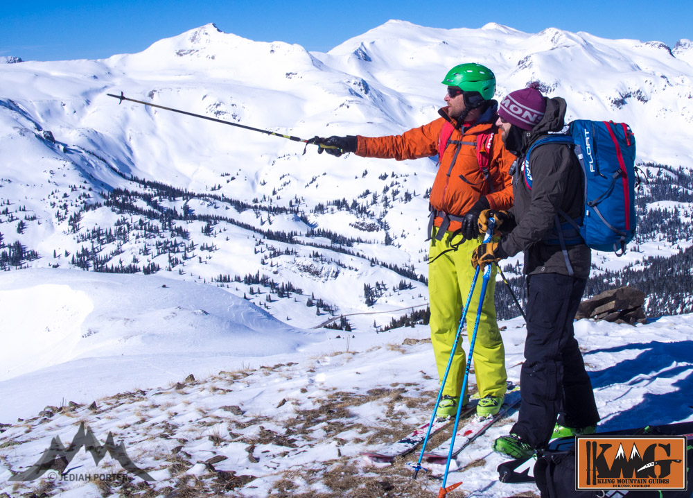 IFMGA Guide Jed Porter highlighting terrain with IFMGA aspirant mountain guide Josh Kling