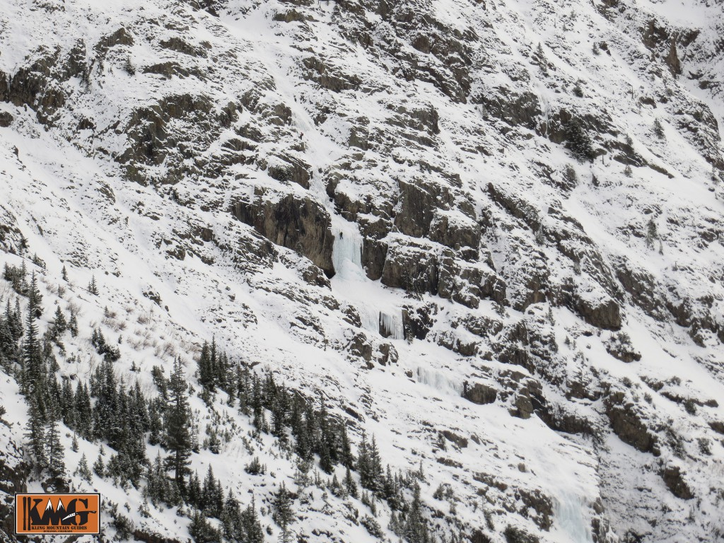 A zoomed out view of the classic climb, Stairway to Heaven outside of Silverton, CO.