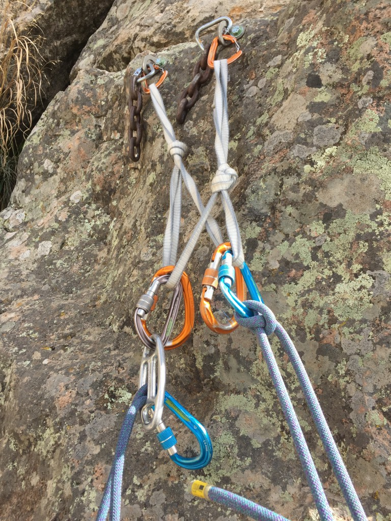 The quad anchor utilizing the CAMP USA 240  Dyneema sling, two CAMPS USA Photon wire gates, two CAMP HMS Compact carabiners , two CAMP USA HMS Nitro carabiners, CAMP USA OVO belay device