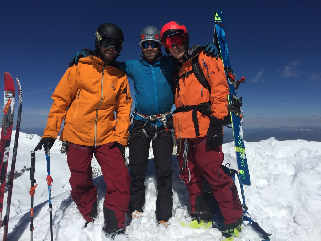 The crew (L-R) Grady James, Josh Kling, and Sven Brunso on the summit of Mt. Sneffels just before  the rappel into the Snake Couloir.  picture by LEKI selfe stick ski pole.