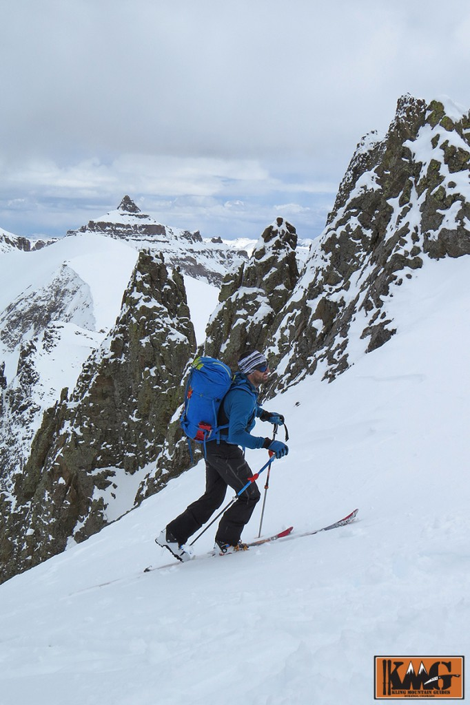 Camp athlete and AMGA Certified Alpine Guide Josh Kling nearing the top of Lavender Col. Picture by Sven Brunso