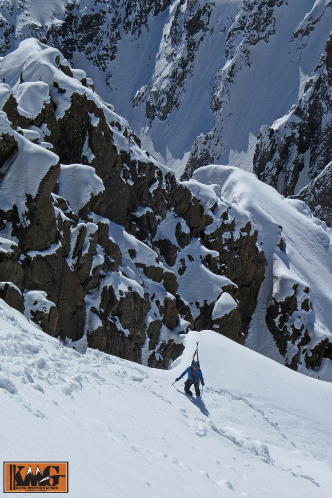 Camp Athlete and AMGA Certified Alpine Guide Josh Kling nearing the summit of Mt. Sneffels. Picture by Sven Brunso