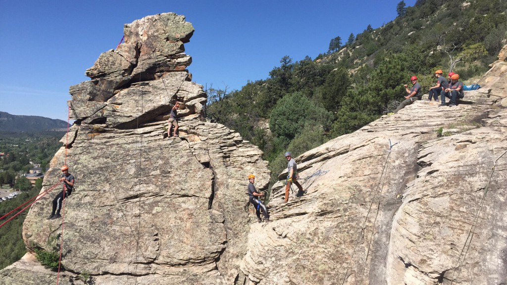 A Boy Scout group from AZ enjoying rock climbing, rappelling, and our custom Tyrollean Traverse, all under the supervision of American Mountain Guides Association Certified Instructors and Guides.