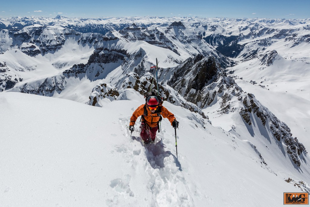 Sven Brunso kicking steps towards the summit.  Picture by Grady James