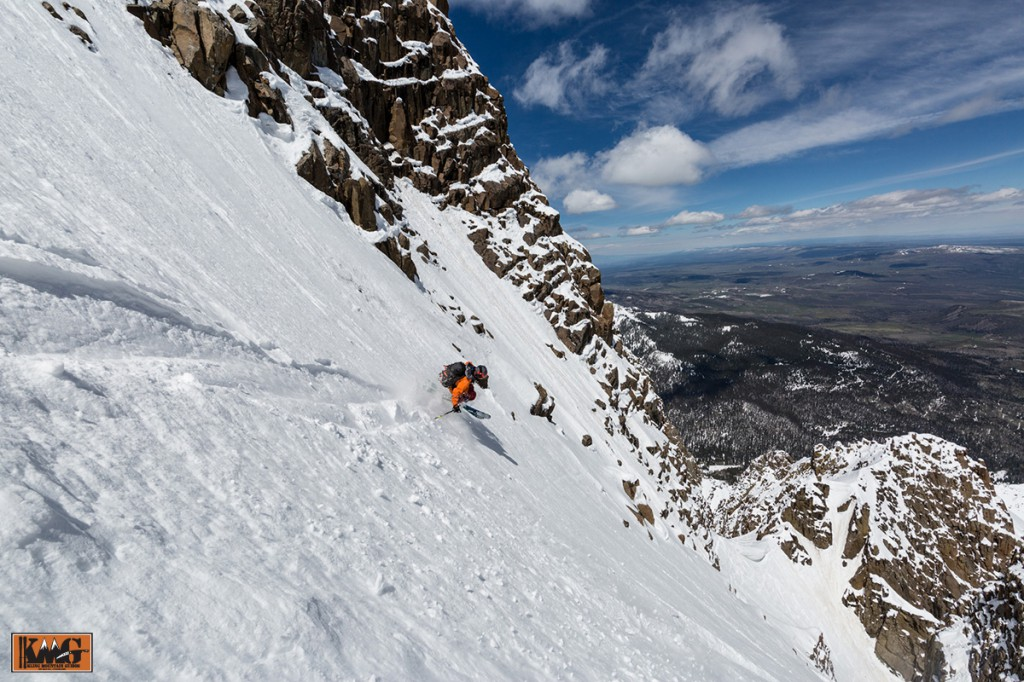 Sven Brunso making it look good on the top 1/3 of the Snake Couloir.  Picture by Grady James